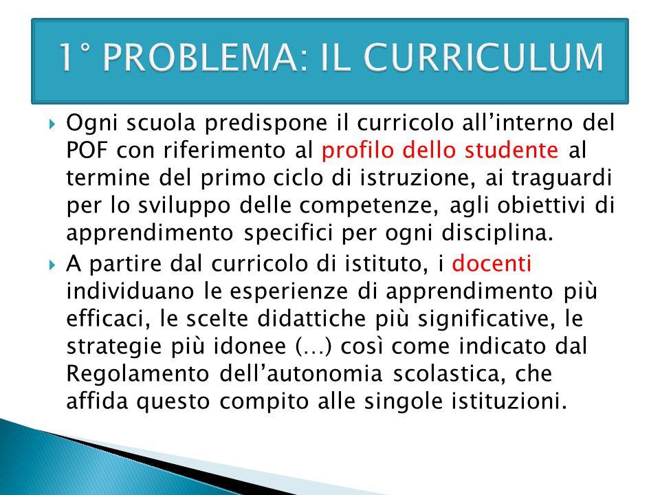  Ogni scuola predispone il curricolo all'interno del POF con riferimento al profilo dello studente al termine del primo ciclo di istruzione, ai tragu