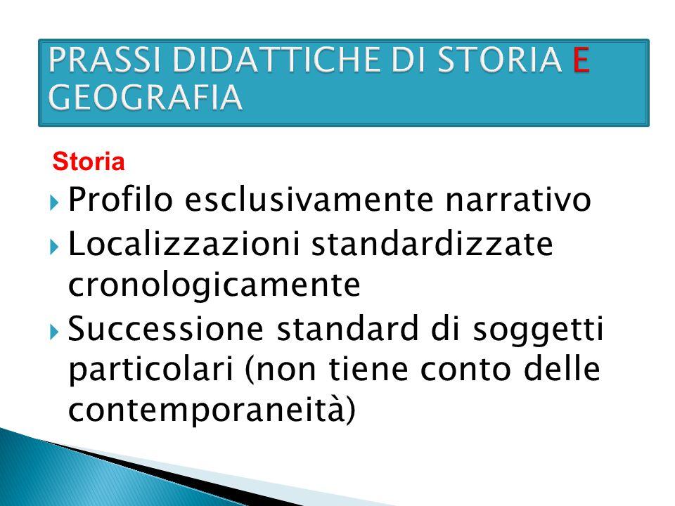  Profilo esclusivamente narrativo  Localizzazioni standardizzate cronologicamente  Successione standard di soggetti particolari (non tiene conto de