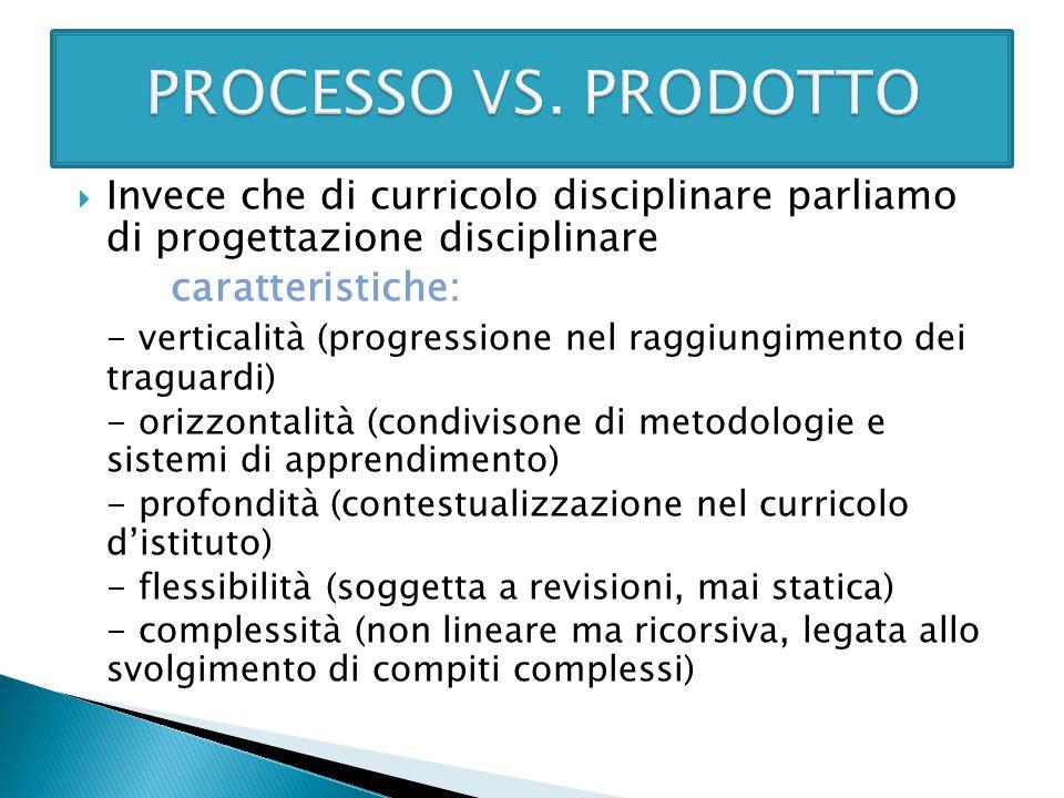  Invece che di curricolo disciplinare parliamo di progettazione disciplinare caratteristiche: - verticalità (progressione nel raggiungimento dei trag