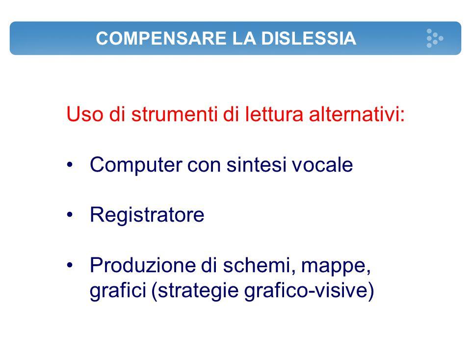 COMPENSARE LA DISLESSIA Uso di strumenti di lettura alternativi: Computer con sintesi vocale Registratore Produzione di schemi, mappe, grafici (strate