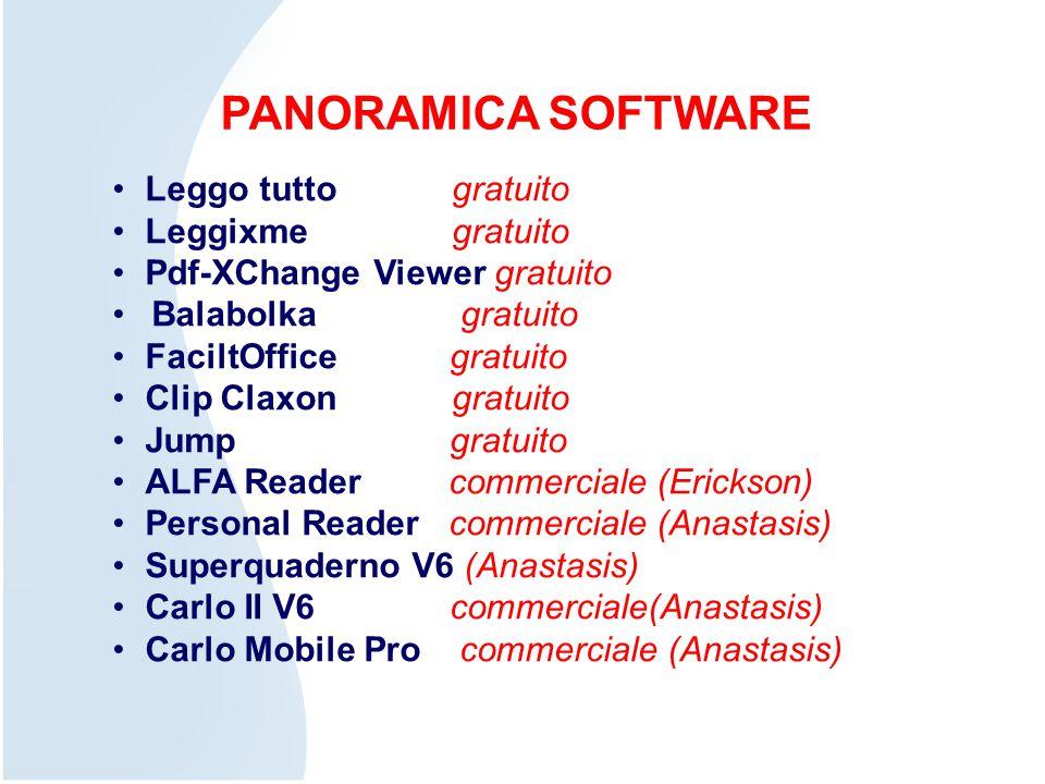 PANORAMICA SOFTWARE Leggo tutto gratuito Leggixme gratuito Pdf-XChange Viewer gratuito Balabolka gratuito FaciltOffice gratuito Clip Claxon gratuito J