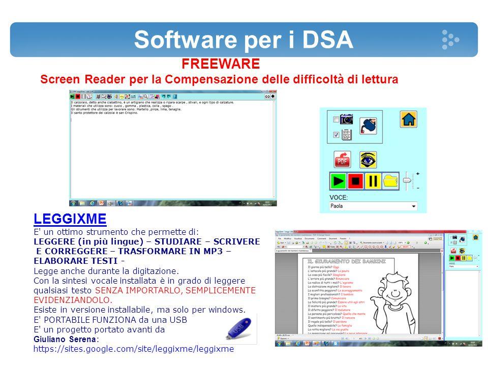 Software per i DSA FREEWARE Screen Reader per la Compensazione delle difficoltà di lettura LEGGIXME E' un ottimo strumento che permette di: LEGGERE (i
