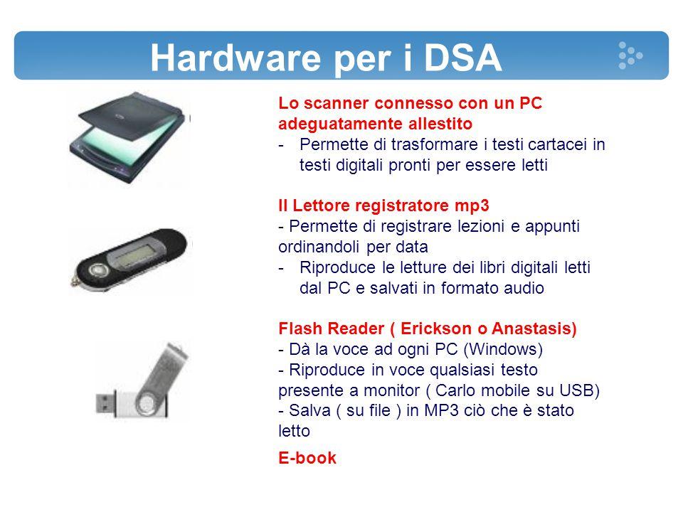 Lo scanner connesso con un PC adeguatamente allestito -Permette di trasformare i testi cartacei in testi digitali pronti per essere letti Il Lettore r