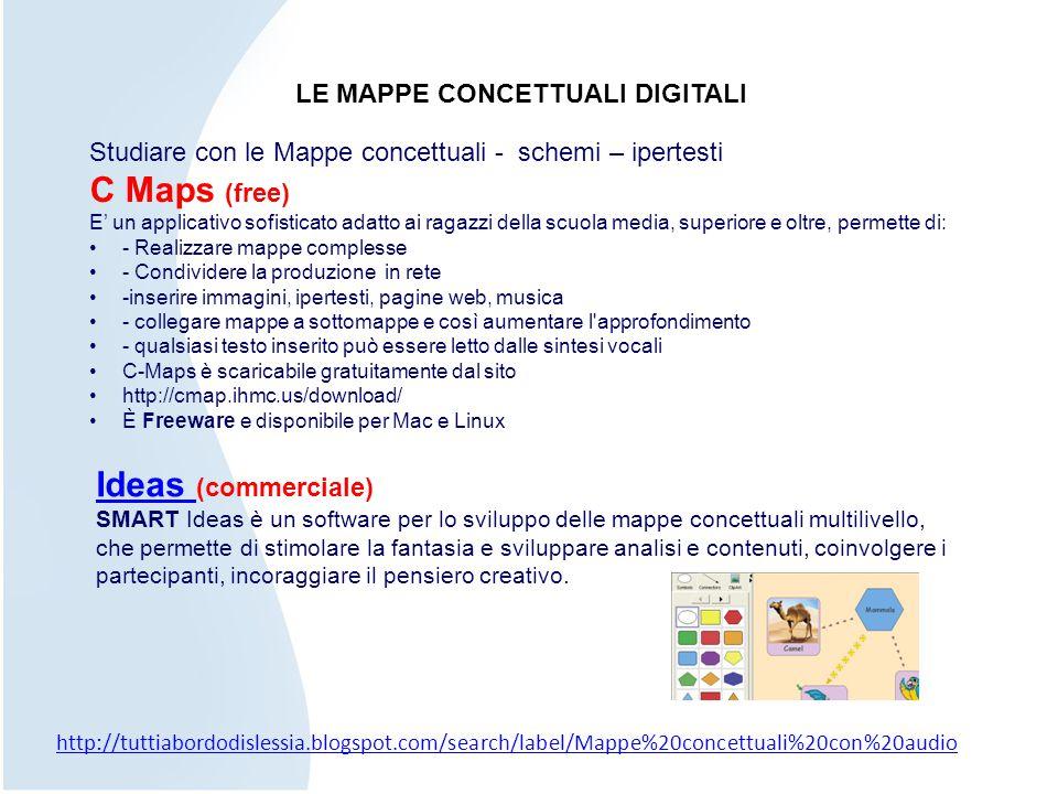 LE MAPPE CONCETTUALI DIGITALI Studiare con le Mappe concettuali - schemi – ipertesti C Maps (free) E' un applicativo sofisticato adatto ai ragazzi del