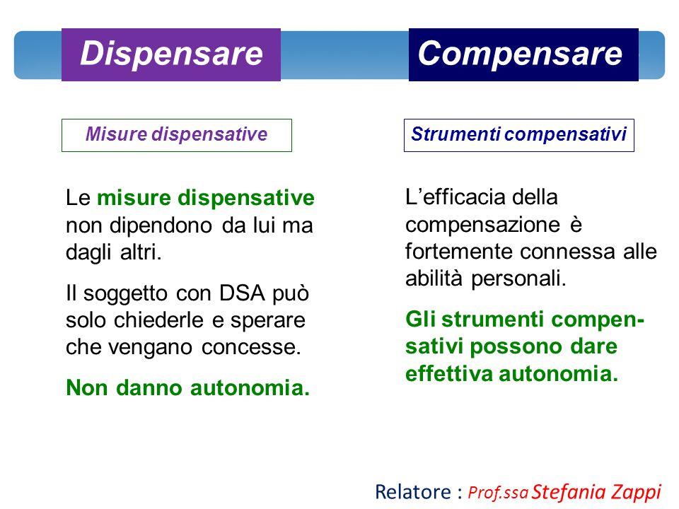CompensareDispensare Misure dispensativeStrumenti compensativi Le misure dispensative non dipendono da lui ma dagli altri. Il soggetto con DSA può sol