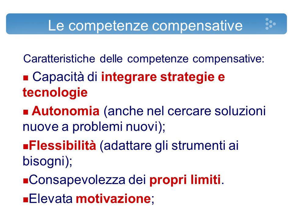 Le competenze compensative Caratteristiche delle competenze compensative: n Capacità di integrare strategie e tecnologie n Autonomia (anche nel cercar