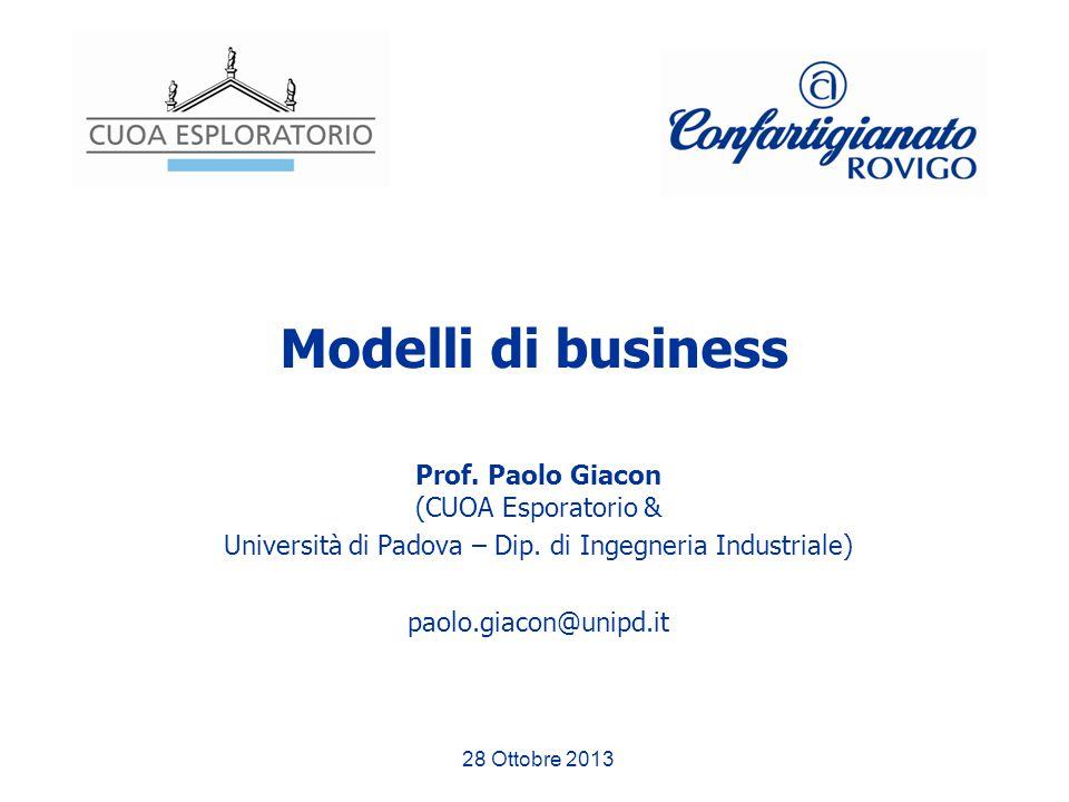 Modelli di business Prof. Paolo Giacon (CUOA Esporatorio & Università di Padova – Dip. di Ingegneria Industriale) paolo.giacon@unipd.it 28 Ottobre 201