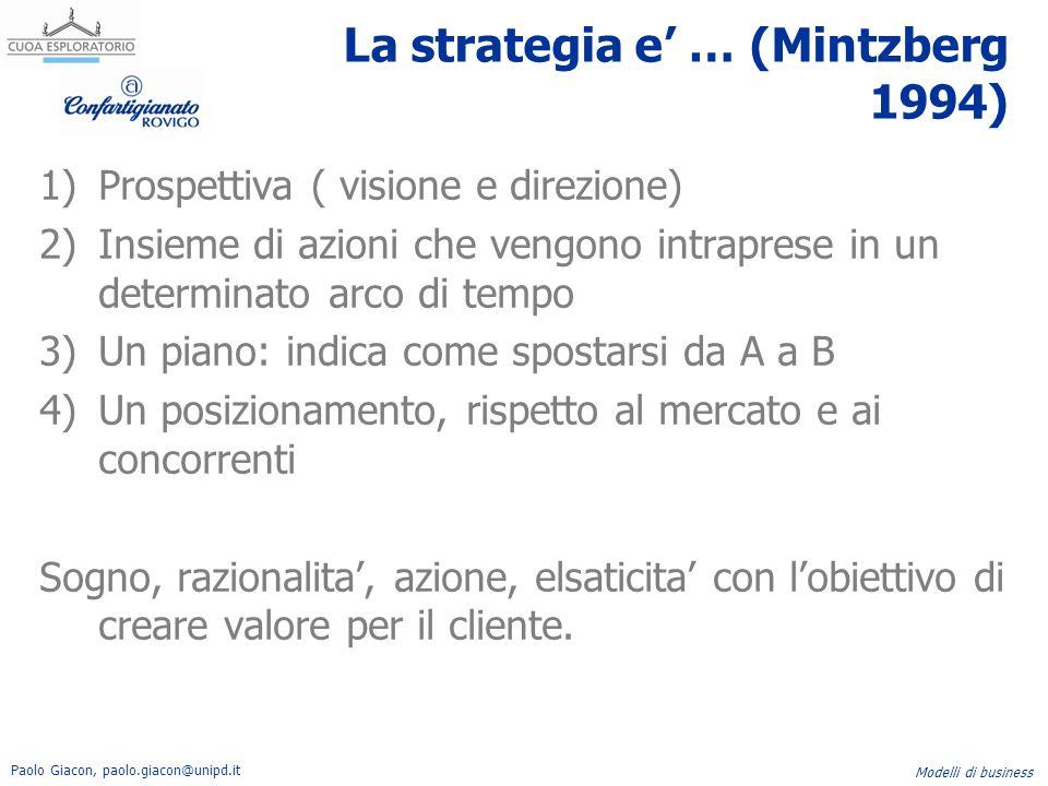 Paolo Giacon, paolo.giacon@unipd.it Modelli di business La strategia e' … (Mintzberg 1994) 1)Prospettiva ( visione e direzione) 2)Insieme di azioni ch
