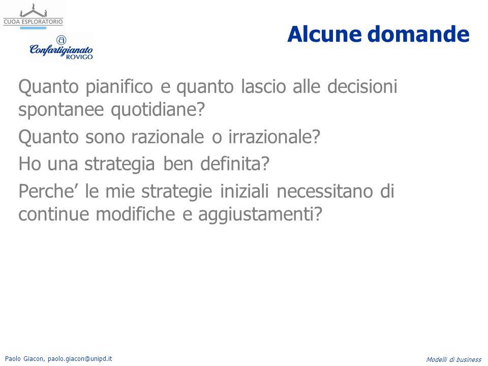 Paolo Giacon, paolo.giacon@unipd.it Modelli di business Alcune domande Quanto pianifico e quanto lascio alle decisioni spontanee quotidiane? Quanto so