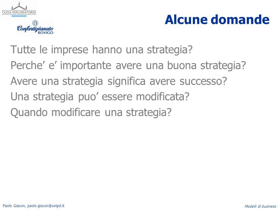 Paolo Giacon, paolo.giacon@unipd.it Modelli di business Alcune domande Tutte le imprese hanno una strategia? Perche' e' importante avere una buona str