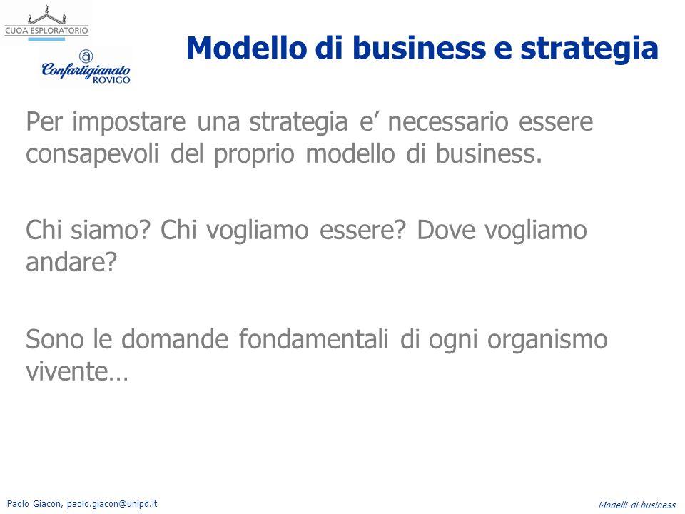 Paolo Giacon, paolo.giacon@unipd.it Modelli di business Modello di business e strategia Per impostare una strategia e' necessario essere consapevoli d