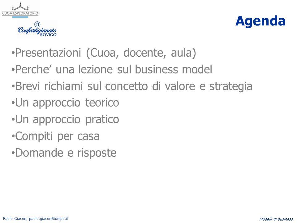 Paolo Giacon, paolo.giacon@unipd.it Modelli di business La strategia e' … (Mintzberg 1994) 1)Prospettiva ( visione e direzione) 2)Insieme di azioni che vengono intraprese in un determinato arco di tempo 3)Un piano: indica come spostarsi da A a B 4)Un posizionamento, rispetto al mercato e ai concorrenti Sogno, razionalita', azione, elsaticita' con l'obiettivo di creare valore per il cliente.