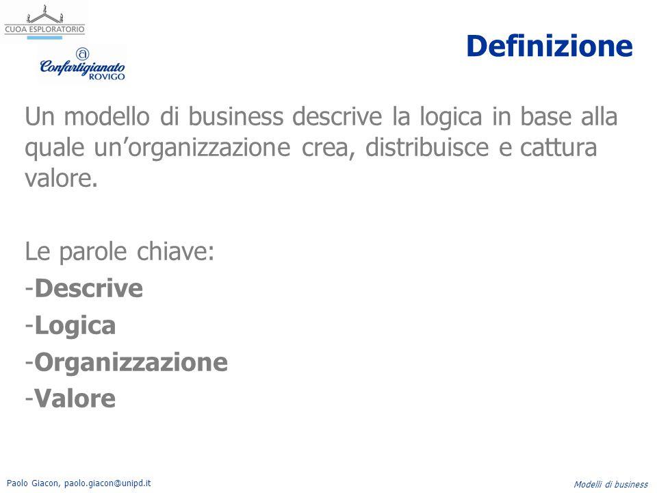 Paolo Giacon, paolo.giacon@unipd.it Modelli di business Definizione Un modello di business descrive la logica in base alla quale un'organizzazione cre
