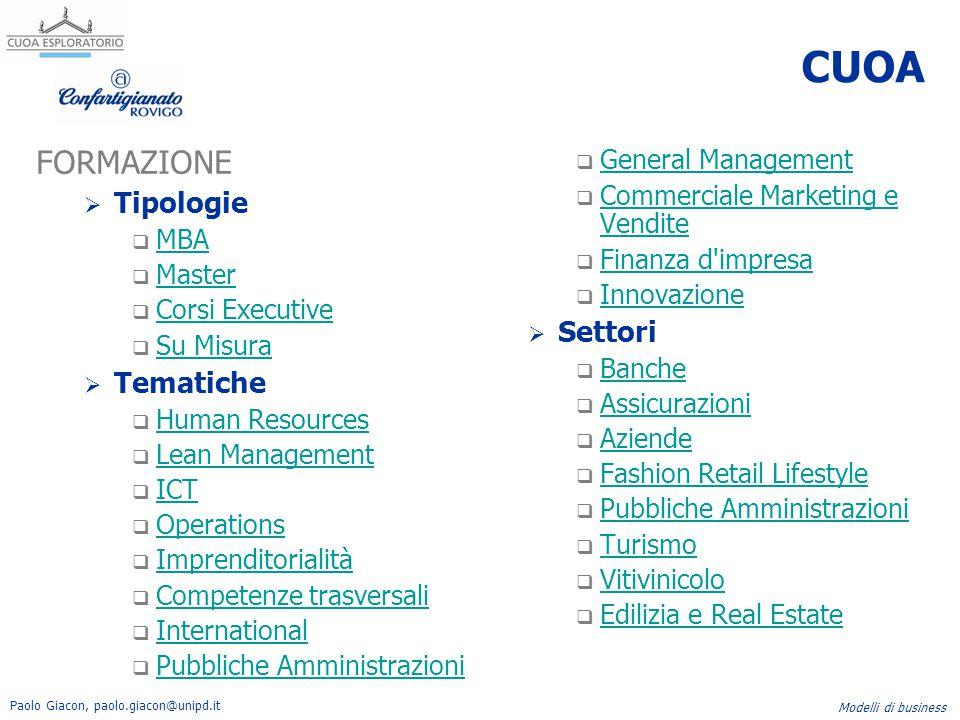 Paolo Giacon, paolo.giacon@unipd.it Modelli di business CUOA FORMAZIONE  Tipologie  MBA MBA  Master Master  Corsi Executive Corsi Executive  Su M