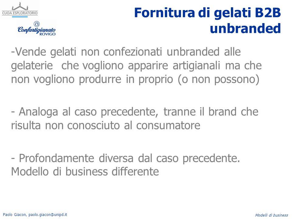 Paolo Giacon, paolo.giacon@unipd.it Modelli di business Fornitura di gelati B2B unbranded -Vende gelati non confezionati unbranded alle gelaterie che