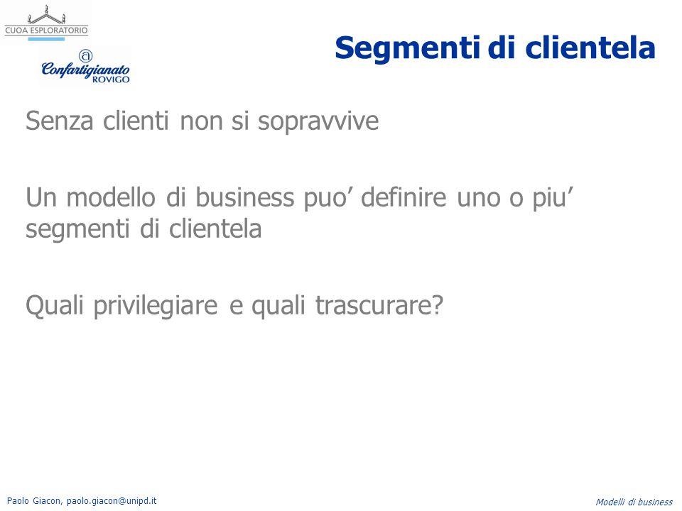 Paolo Giacon, paolo.giacon@unipd.it Modelli di business Segmenti di clientela Senza clienti non si sopravvive Un modello di business puo' definire uno