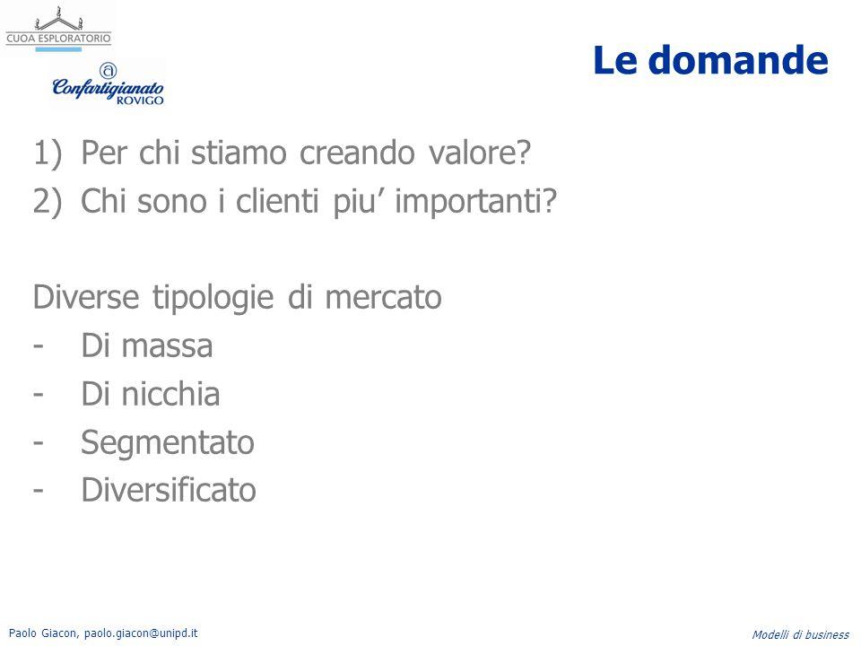 Paolo Giacon, paolo.giacon@unipd.it Modelli di business Le domande 1)Per chi stiamo creando valore? 2)Chi sono i clienti piu' importanti? Diverse tipo