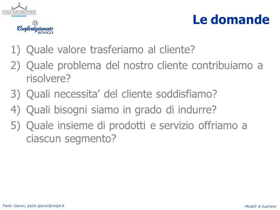 Paolo Giacon, paolo.giacon@unipd.it Modelli di business Le domande 1)Quale valore trasferiamo al cliente? 2)Quale problema del nostro cliente contribu