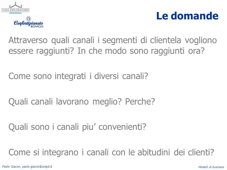 Paolo Giacon, paolo.giacon@unipd.it Modelli di business Le domande Attraverso quali canali i segmenti di clientela vogliono essere raggiunti? In che m
