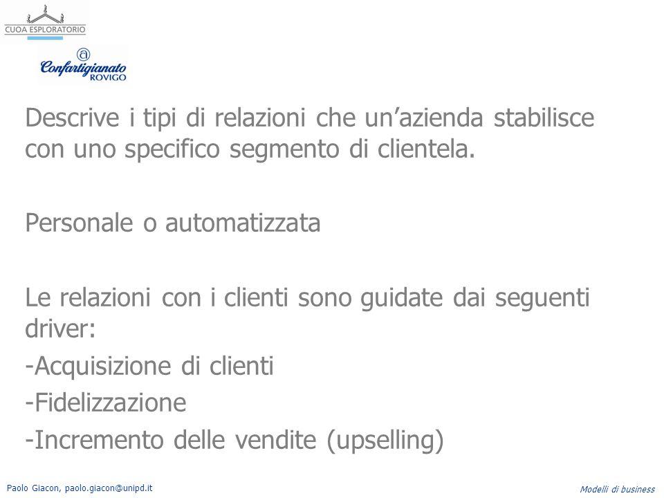 Paolo Giacon, paolo.giacon@unipd.it Modelli di business Descrive i tipi di relazioni che un'azienda stabilisce con uno specifico segmento di clientela