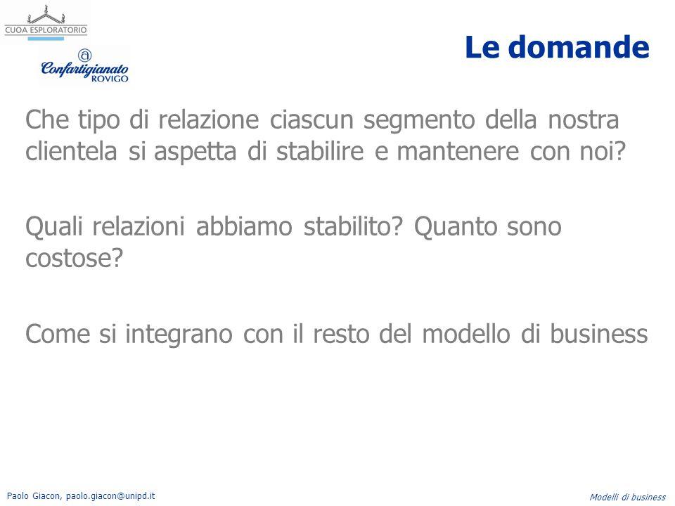 Paolo Giacon, paolo.giacon@unipd.it Modelli di business Le domande Che tipo di relazione ciascun segmento della nostra clientela si aspetta di stabili