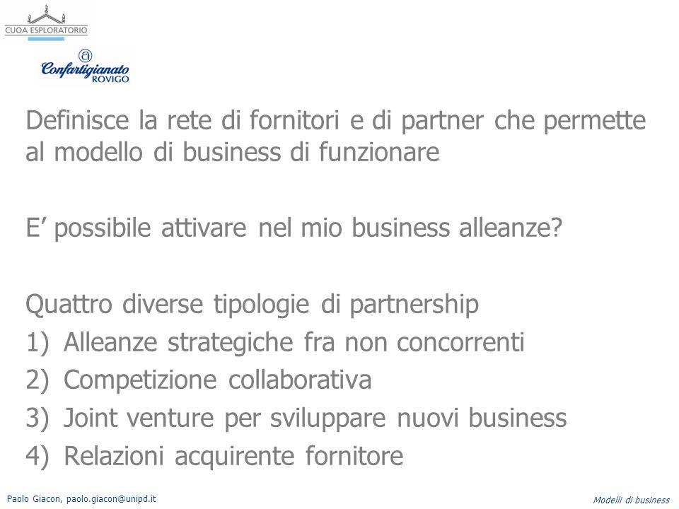 Paolo Giacon, paolo.giacon@unipd.it Modelli di business Definisce la rete di fornitori e di partner che permette al modello di business di funzionare