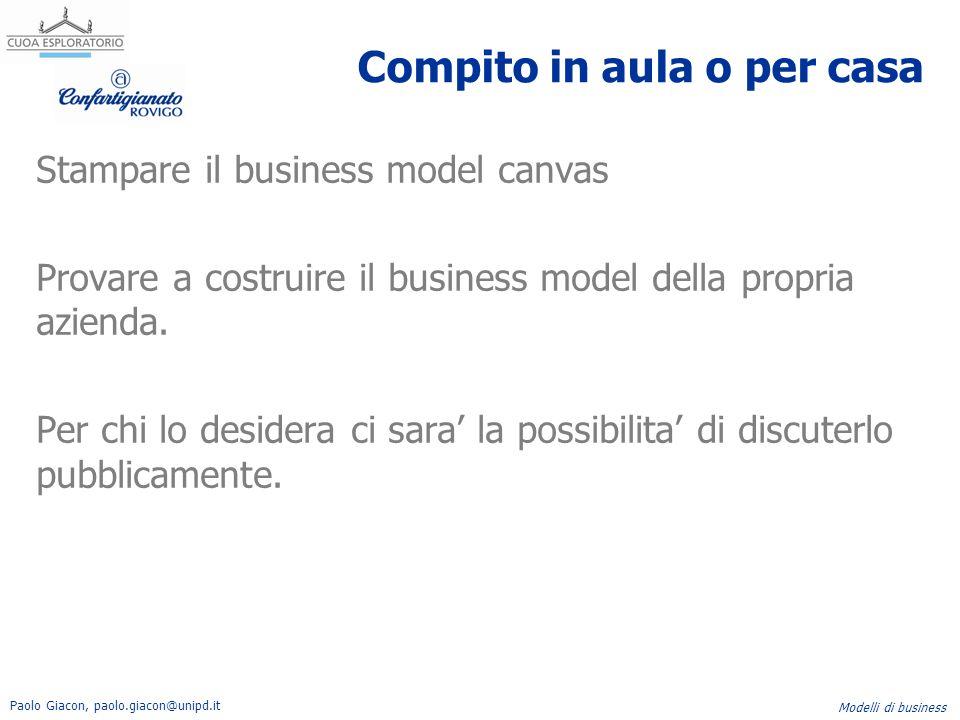 Paolo Giacon, paolo.giacon@unipd.it Modelli di business Compito in aula o per casa Stampare il business model canvas Provare a costruire il business m