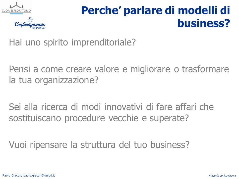 Paolo Giacon, paolo.giacon@unipd.it Modelli di business Descrive l'insieme di prodotti e servizi che creano valore per uno specifico segmento di clientela.