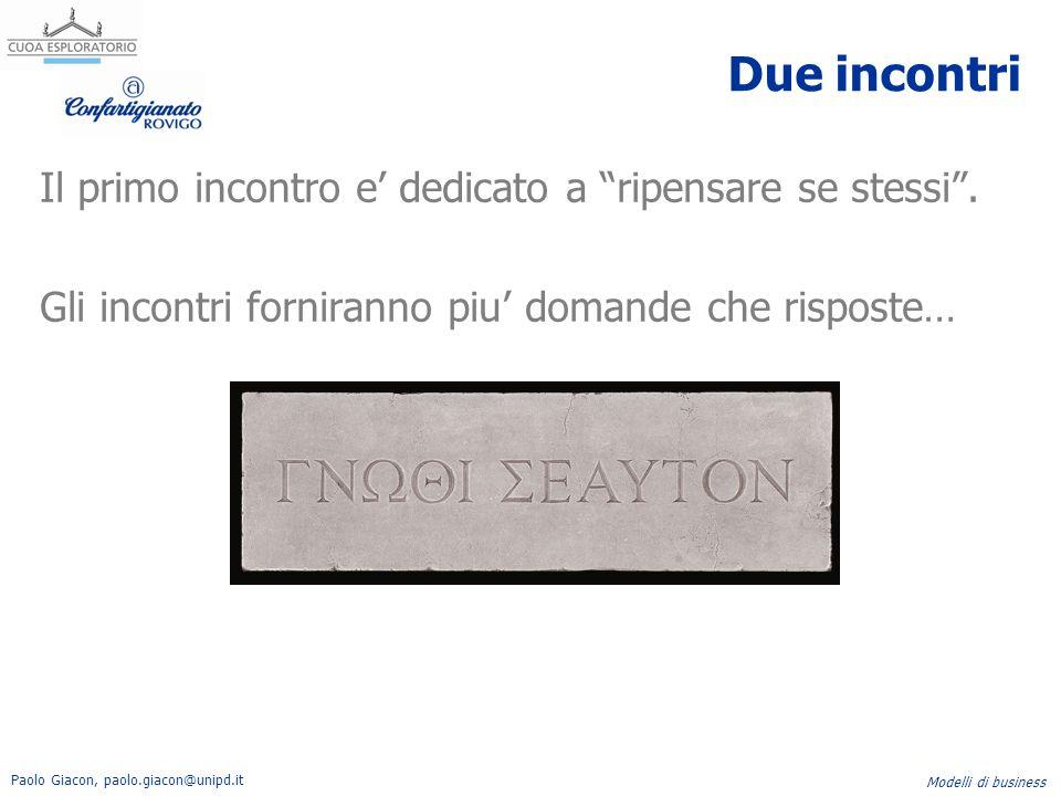 Paolo Giacon, paolo.giacon@unipd.it Modelli di business Il secondo incontro e' dedicato a casi aziendali pratici.