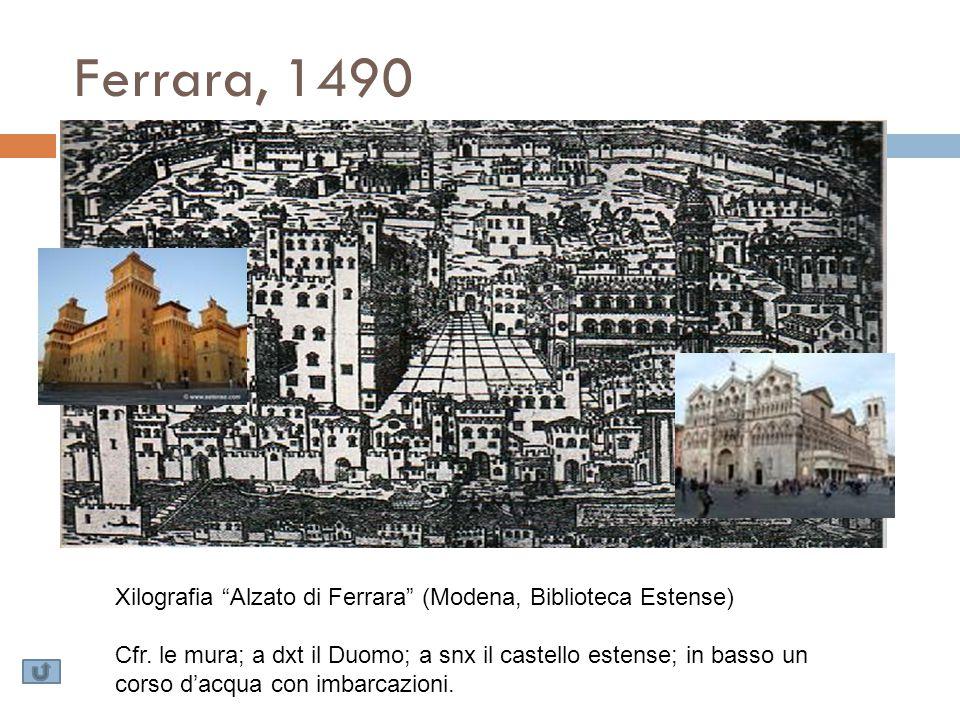"""Ferrara, 1490 Xilografia """"Alzato di Ferrara"""" (Modena, Biblioteca Estense) Cfr. le mura; a dxt il Duomo; a snx il castello estense; in basso un corso d"""