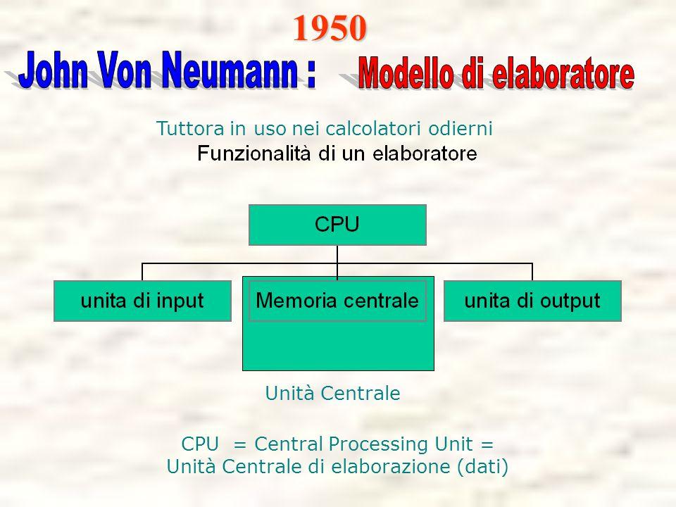 Unità Centrale CPU = Central Processing Unit = Unità Centrale di elaborazione (dati)1950 Tuttora in uso nei calcolatori odierni