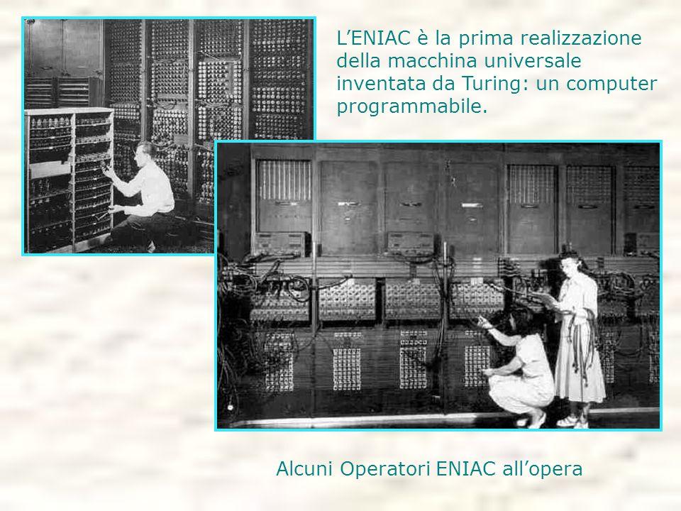 Alcuni Operatori ENIAC all'opera L'ENIAC è la prima realizzazione della macchina universale inventata da Turing: un computer programmabile.