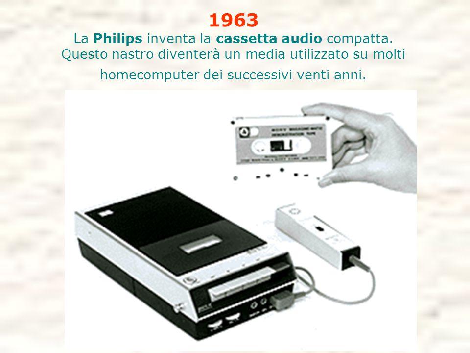 1963 La Philips inventa la cassetta audio compatta. Questo nastro diventerà un media utilizzato su molti homecomputer dei successivi venti anni.