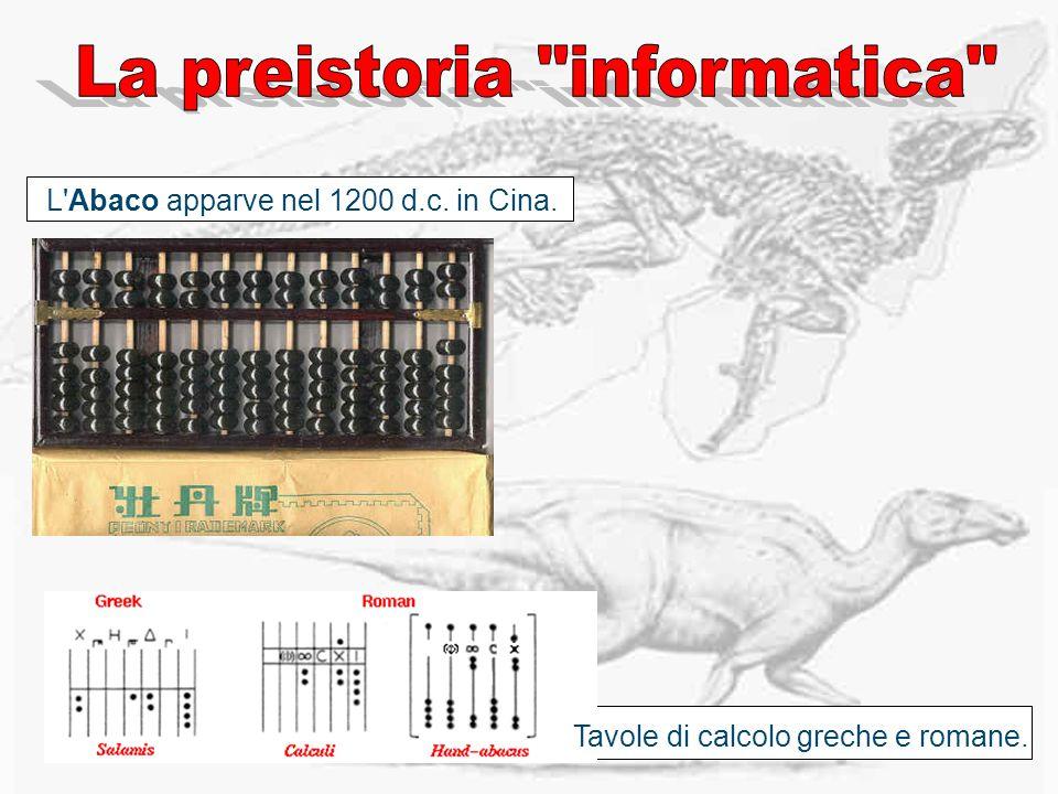 L'Abaco apparve nel 1200 d.c. in Cina. Tavole di calcolo greche e romane.