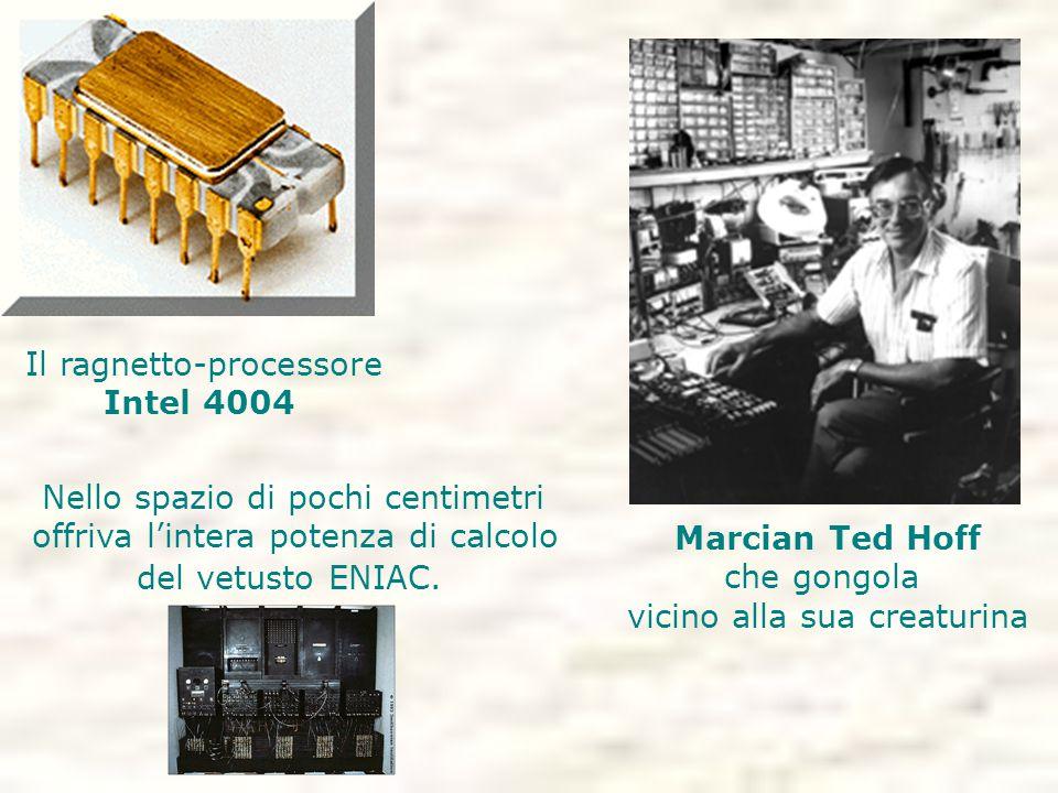 Il ragnetto-processore Intel 4004 Marcian Ted Hoff che gongola vicino alla sua creaturina Nello spazio di pochi centimetri offriva l'intera potenza di