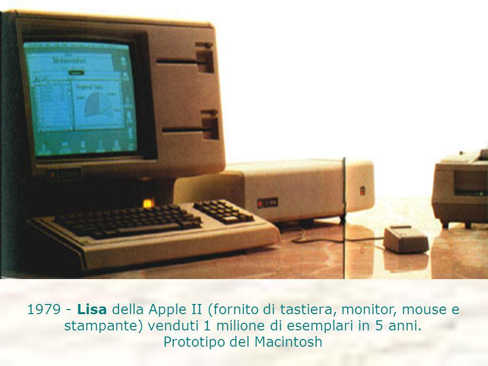 1979 - Lisa della Apple II (fornito di tastiera, monitor, mouse e stampante) venduti 1 milione di esemplari in 5 anni. Prototipo del Macintosh