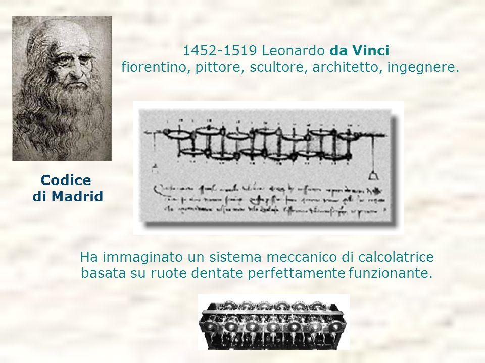 1452-1519 Leonardo da Vinci fiorentino, pittore, scultore, architetto, ingegnere. Ha immaginato un sistema meccanico di calcolatrice basata su ruote d