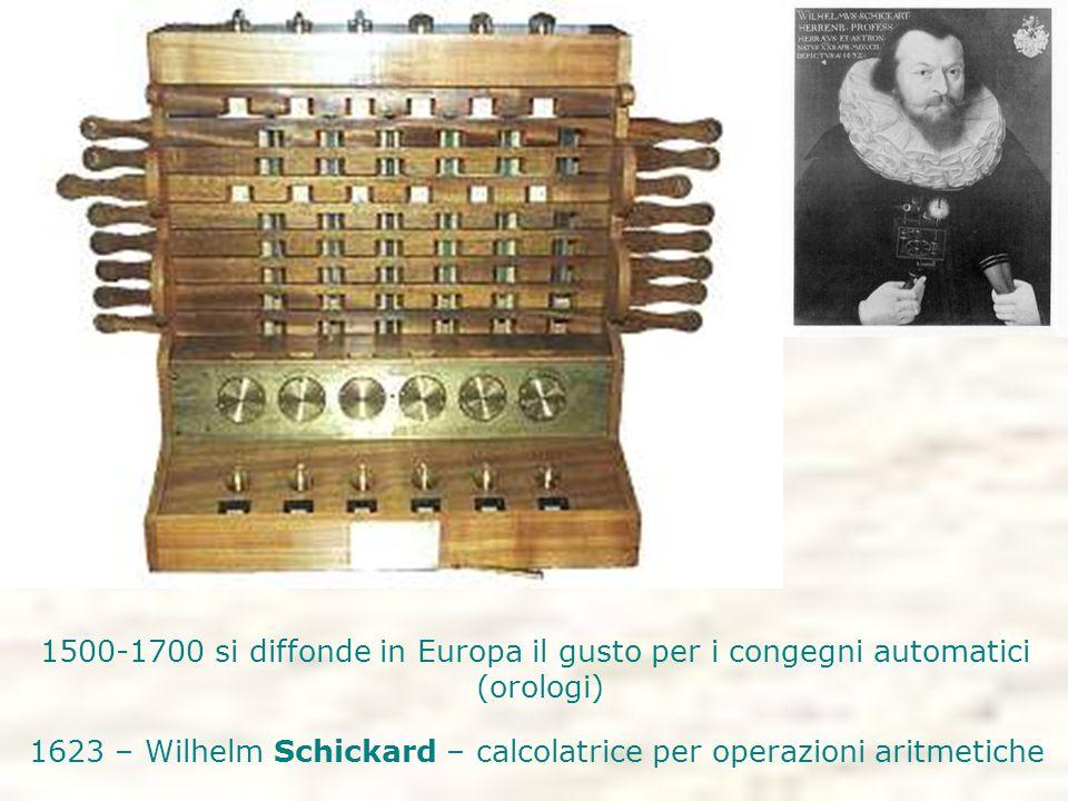 1500-1700 si diffonde in Europa il gusto per i congegni automatici (orologi) 1623 – Wilhelm Schickard – calcolatrice per operazioni aritmetiche