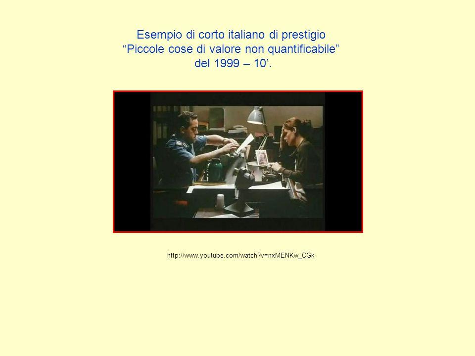 """Esempio di corto italiano di prestigio """"Piccole cose di valore non quantificabile"""" del 1999 – 10'. http://www.youtube.com/watch?v=nxMENKw_CGk"""