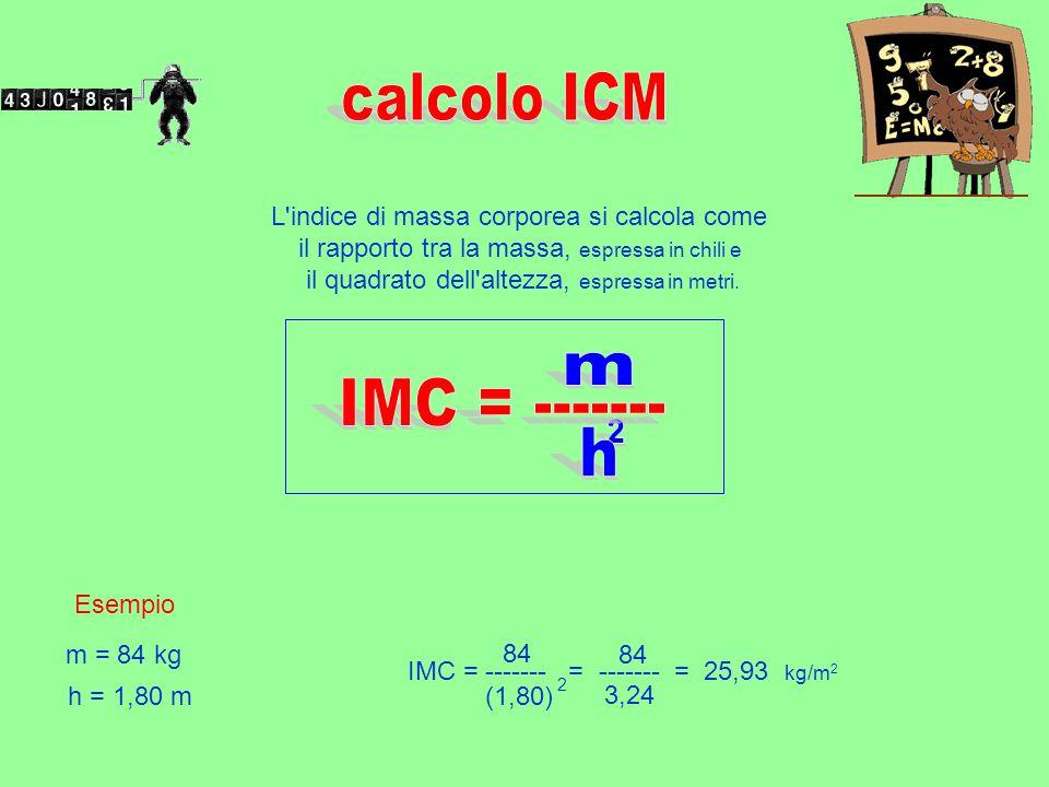 L'indice di massa corporea si calcola come il rapporto tra la massa, espressa in chili e il quadrato dell'altezza, espressa in metri. Esempio m = 84 k
