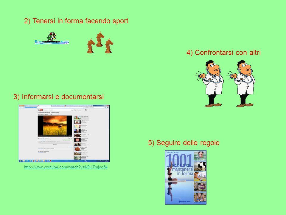 2) Tenersi in forma facendo sport 4) Confrontarsi con altri 5) Seguire delle regole 3) Informarsi e documentarsi http://www.youtube.com/watch?v=N9lJTm