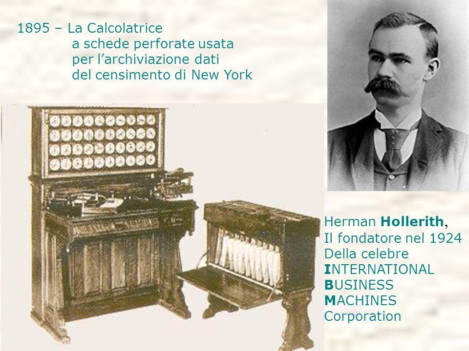 1895 – La Calcolatrice a schede perforate usata per l'archiviazione dati del censimento di New York Herman Hollerith, Il fondatore nel 1924 Della celebre INTERNATIONAL BUSINESS MACHINES Corporation