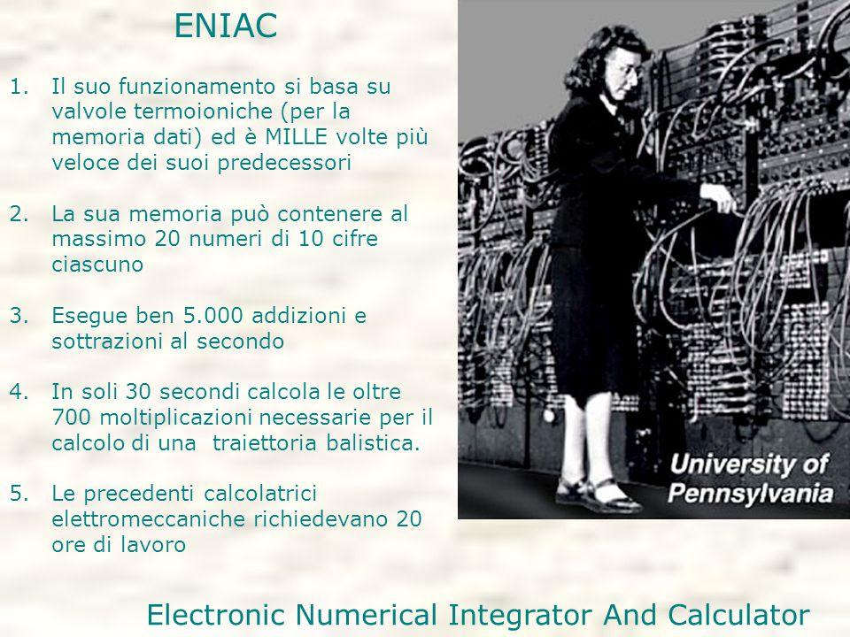 ENIAC 1.Il suo funzionamento si basa su valvole termoioniche (per la memoria dati) ed è MILLE volte più veloce dei suoi predecessori 2.La sua memoria può contenere al massimo 20 numeri di 10 cifre ciascuno 3.Esegue ben 5.000 addizioni e sottrazioni al secondo 4.In soli 30 secondi calcola le oltre 700 moltiplicazioni necessarie per il calcolo di una traiettoria balistica.
