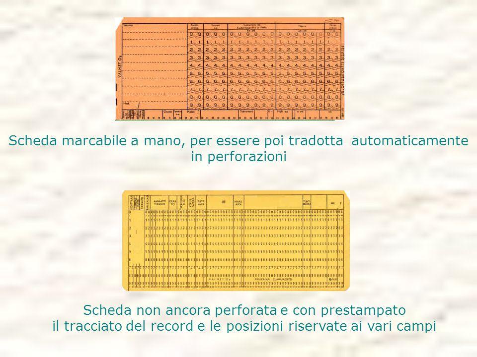 Scheda non ancora perforata e con prestampato il tracciato del record e le posizioni riservate ai vari campi Scheda marcabile a mano, per essere poi tradotta automaticamente in perforazioni