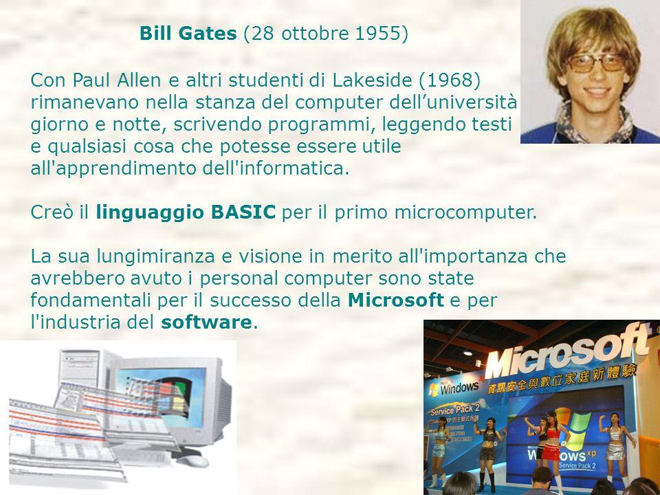 Bill Gates (28 ottobre 1955) Con Paul Allen e altri studenti di Lakeside (1968) rimanevano nella stanza del computer dell'università giorno e notte, scrivendo programmi, leggendo testi e qualsiasi cosa che potesse essere utile all apprendimento dell informatica.