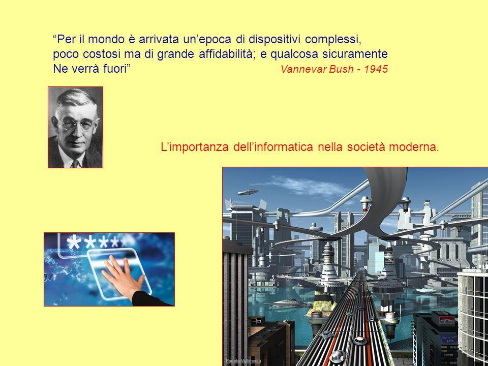 Per il mondo è arrivata un'epoca di dispositivi complessi, poco costosi ma di grande affidabilità; e qualcosa sicuramente Ne verrà fuori Vannevar Bush - 1945 L'importanza dell'informatica nella società moderna.