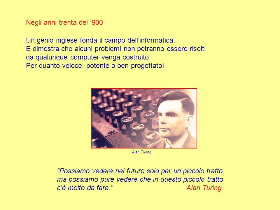 Negli anni trenta del '900 Un genio inglese fonda il campo dell'informatica.