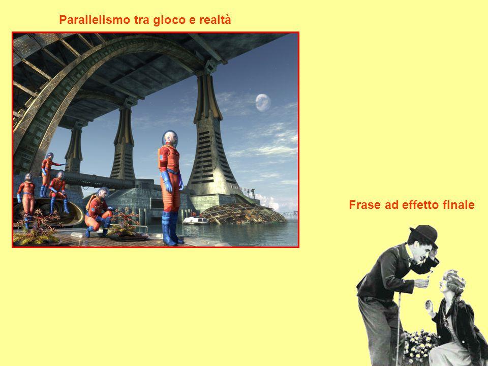 Parallelismo tra gioco e realtà Frase ad effetto finale