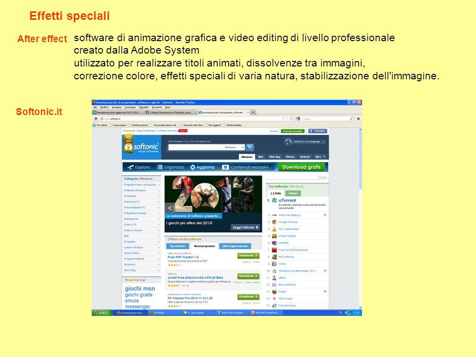 Effetti speciali After effect software di animazione grafica e video editing di livello professionale creato dalla Adobe System utilizzato per realizz