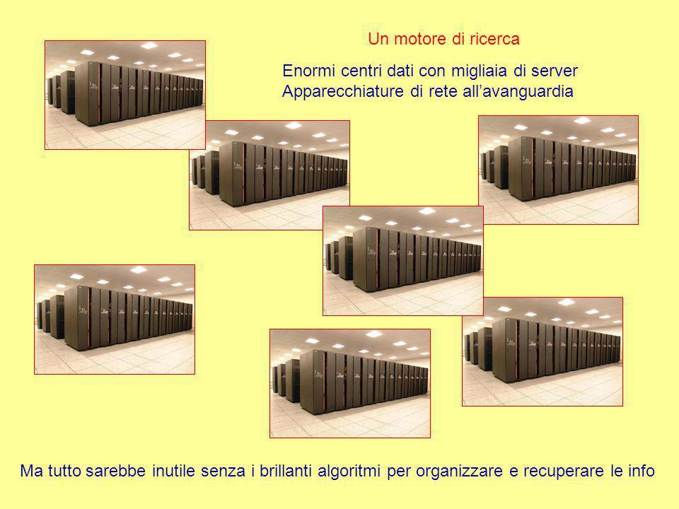 Un motore di ricerca Enormi centri dati con migliaia di server Apparecchiature di rete all'avanguardia Ma tutto sarebbe inutile senza i brillanti algoritmi per organizzare e recuperare le info